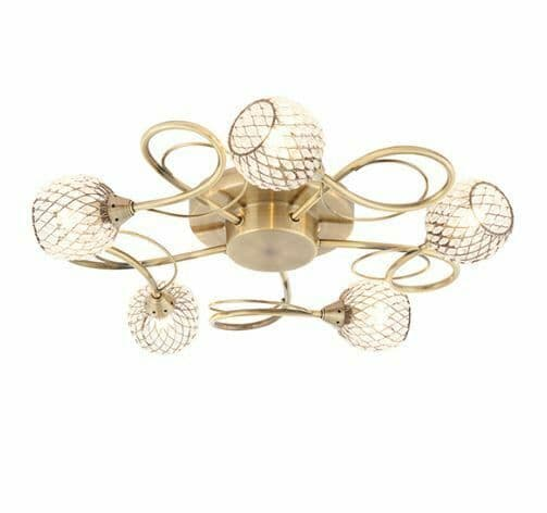 Aherne 5 light polished antique brass semi flush